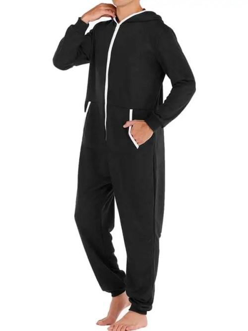 Men Casual Onesies Jumpsuit Hooded Loungewear Loose Pyjama