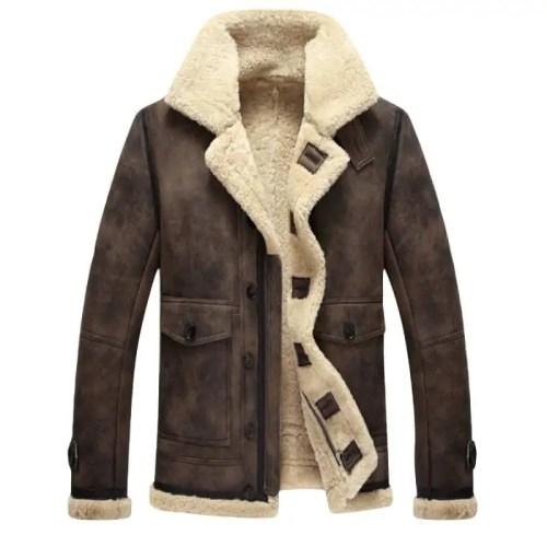 Shearling Big Pocket Faux Leather Biker Jacket