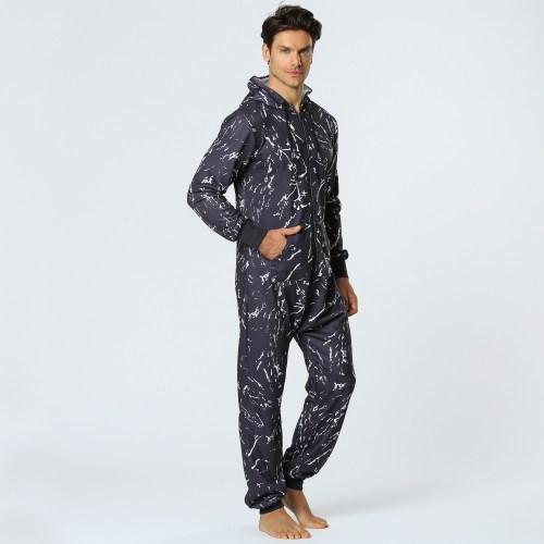 Men Casual Graffiti Print Black Jumpsuit Loungewear Jumpsuit