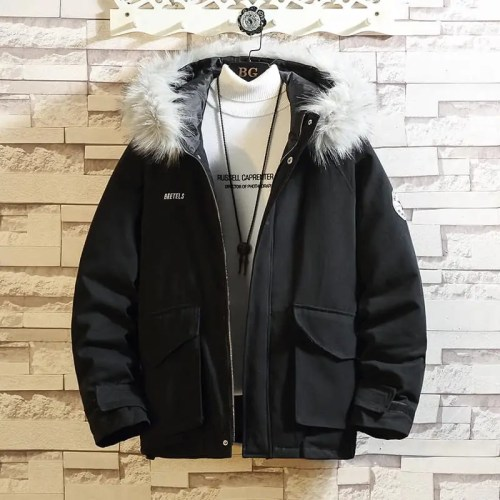 Pentagram Letter Embroidery Big Fur Collar Hooded Loose Mens Coat