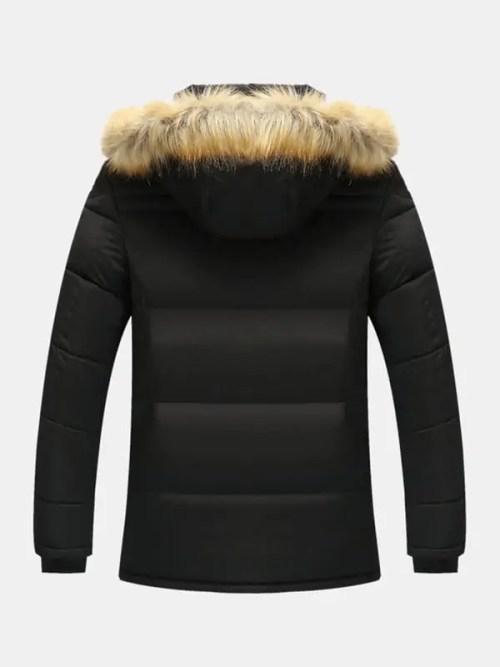 Bearboxers Menswear - Fleece Lined Long Sleeve Detachable Faux Fur Hooded Parka