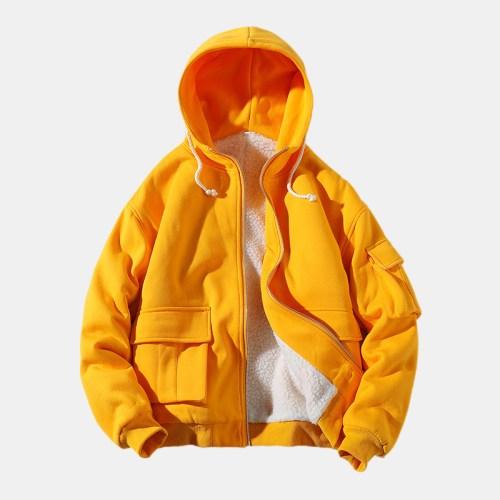 Mens Casual Hooded Double Big Pockets Drawstring Jacket