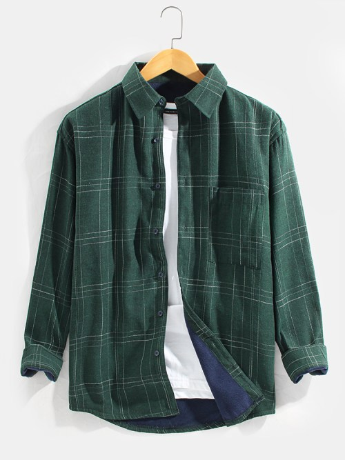 Mens Plaid Casual Cotton Thick Turn Down Collar Leisure Jacket
