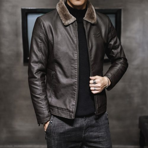 Bearboxers Mens MY156 Faux Fur Collar Leather Jacket