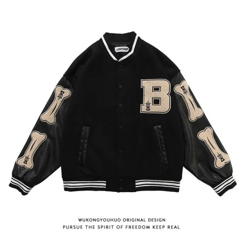 Bearboxers hip-hop print baseball jacket