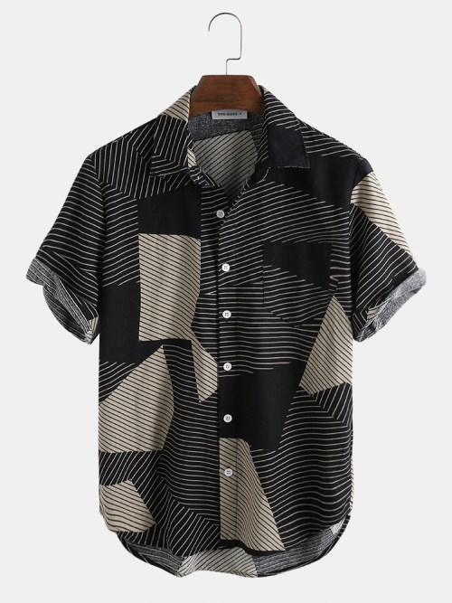 Mens Fashion Color Block Stripe Short Sleeve Casual Shirts
