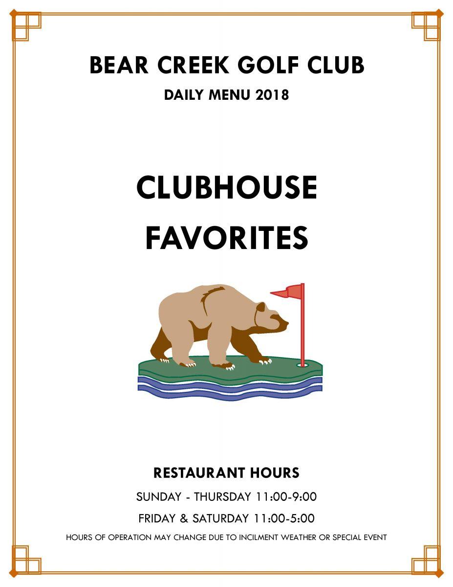Bear Creek Golf Club Restaurant Menu