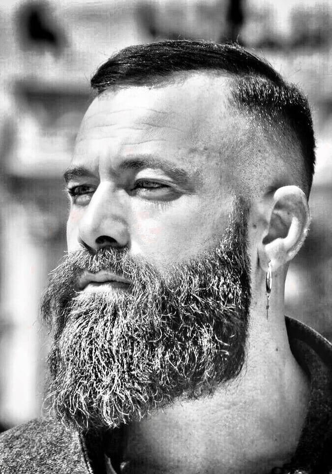 Aggressive Long Beard with short hair