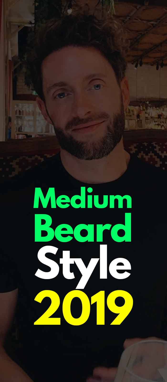 Black Tshirt, Medium Beard style for men!