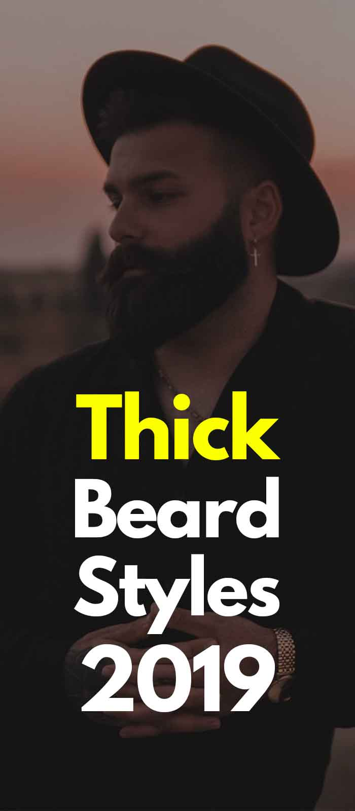 Black dark thick beard style for men!