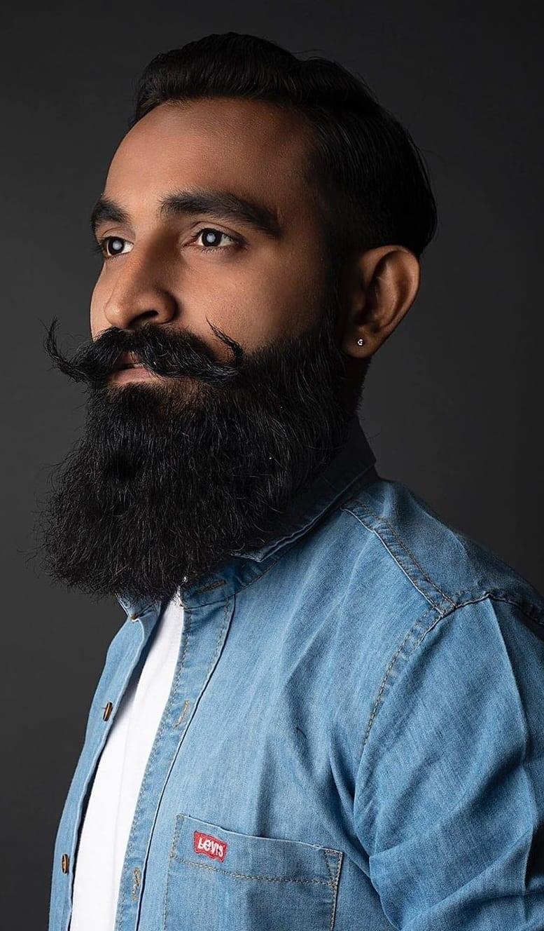 Blue denim jacket, Long beard style for modern men
