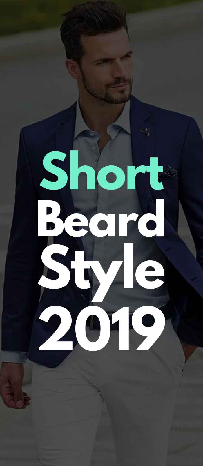 Blue jacket suit look for the short beard style!