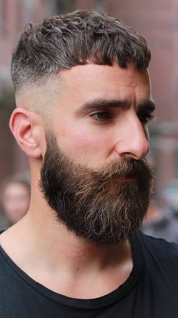 French-Crop-Beard with-Skin-Fade short hairstyle for men