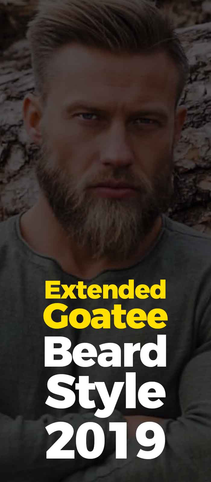Grey T-shirt,extended goatee beard style for men!