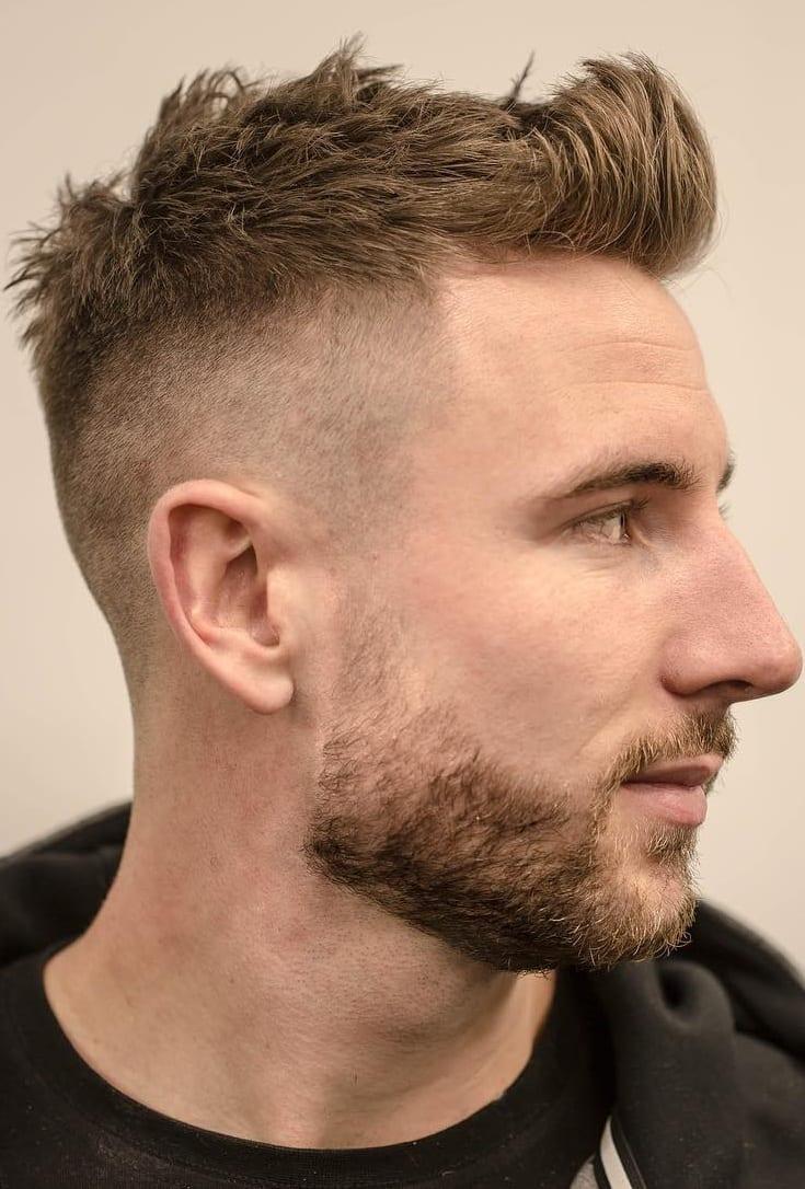 High Skin Fade haircut with short beard for men