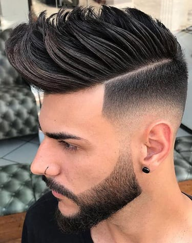 Short sides long hair ideas for men with beard