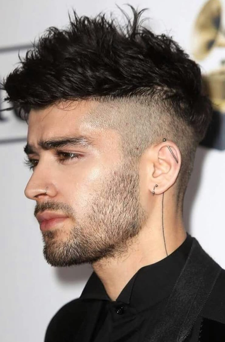 Undercut Long hair short side with beard for men