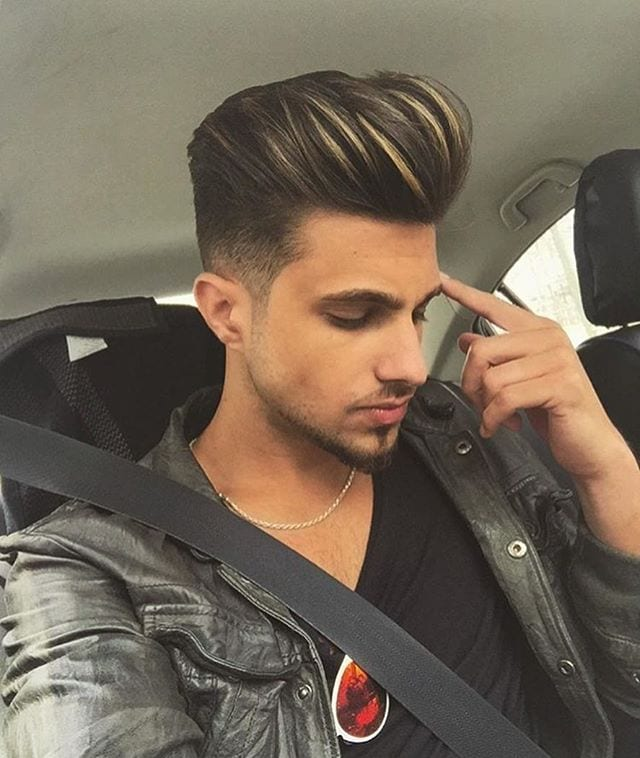 combed-back-hair-black-jacket-in-car