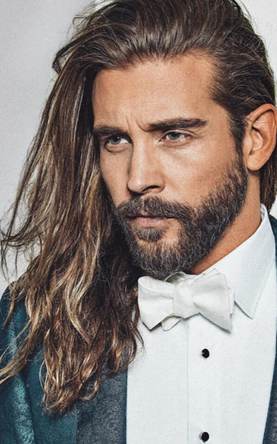 Long Hair and Short Beard Style for Men