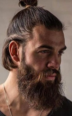 Top Knot Hairstyle With Beard