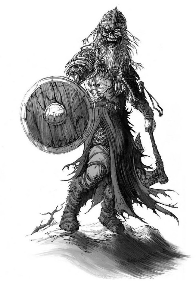 An artist's depiction of a Draugr.