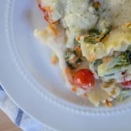 Veggie Lasagna with Cauliflower Alfredo Sauce