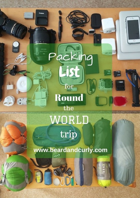 Packing List for Round the World Trip. Ultimate Packing List. Travel List. Gear List. See more at www.beardandcurly.com