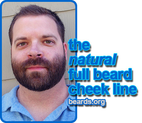 full beard, natural cheek line