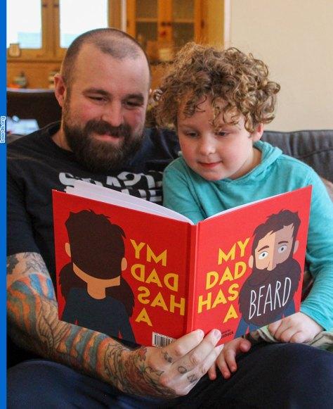 Kellen's big beard book success: Kellen and son read My Dad Has a Beard