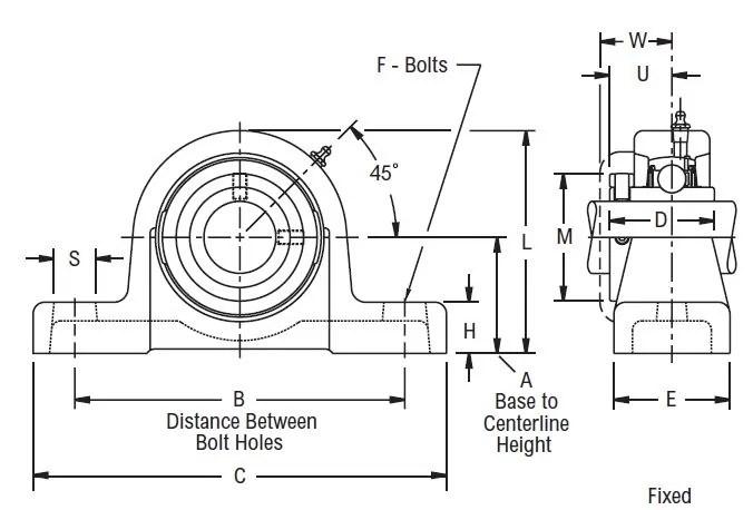 PU 323, Linkbelt-Rexnord Ball Bearing Pillow Block Unit