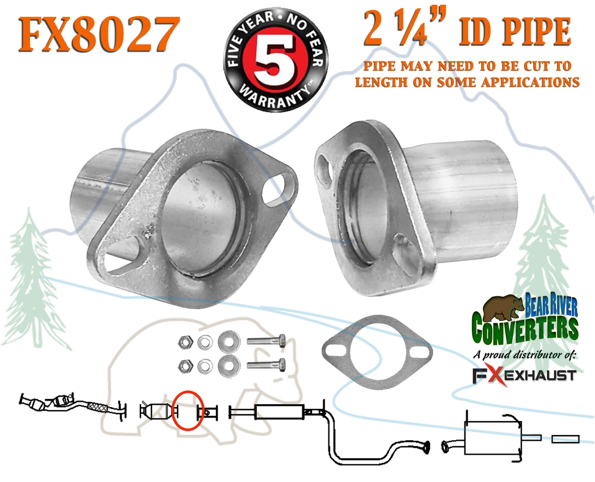 hight resolution of fx8027 2 1 4 id 2 1 4 od semi direct fit exhaust converter pipe flange repair kit w gasket