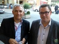 Jag och Jörgen kalitzki utanför flygplatsen i Zürich