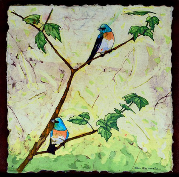 "Lazuli Bunting - Batik by Echo Ukrainetz - Left Wing 17"" x 17"""