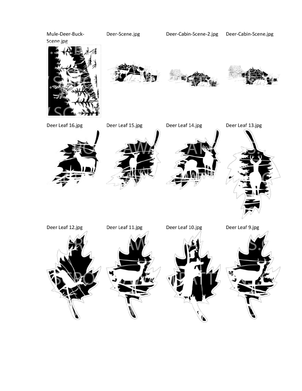 Deer Patterns Package- 48- Scroll Saw Deer Patterns