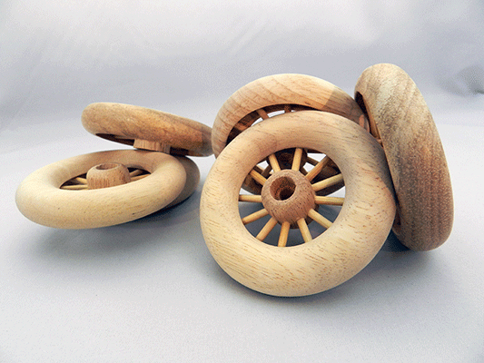 Spoked Wheel Wooden 3 X 58 with AXLE PEG