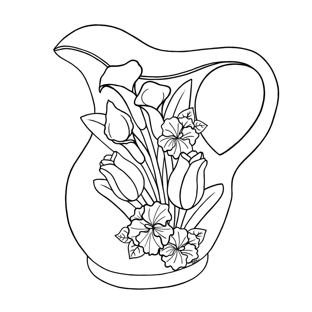 Free coloring pages of and jug