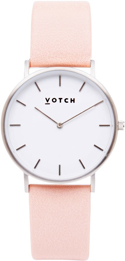 Votch Classic Collection Vegan Leather Watch Silver pink