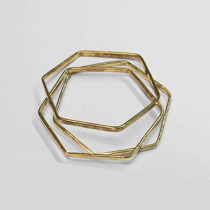 Natural Collection Made brass hexagon bangle set - Green Christmas gift guide