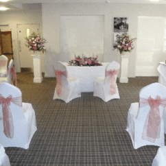 Chair Covers For Weddings Basingstoke Wingback Sashes Beat N Bop Discos Mobile Organza Satin