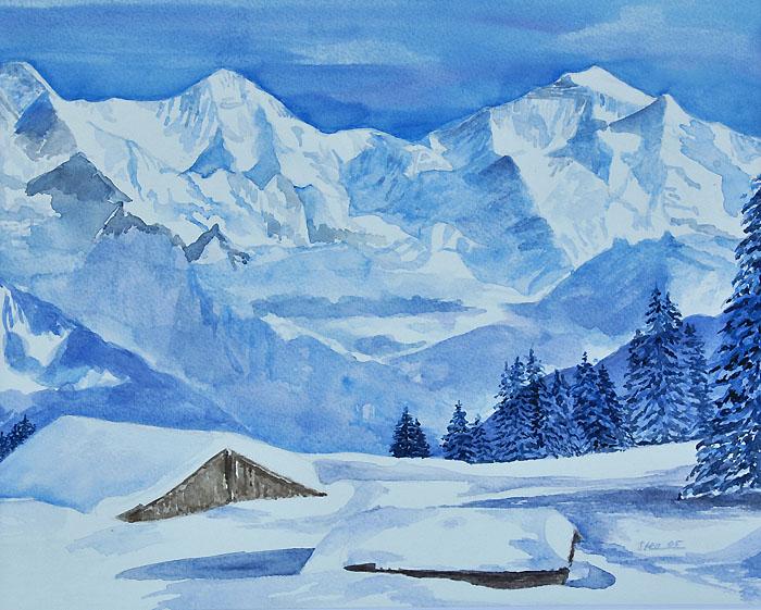 Bilder Beatenberg Berner Oberland Schweiz  Aquarelle