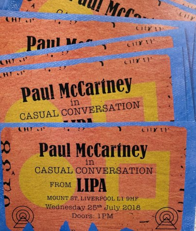 Tickets for Paul McCartney at Liverpool Institute for Performing Arts, 25 July 2018