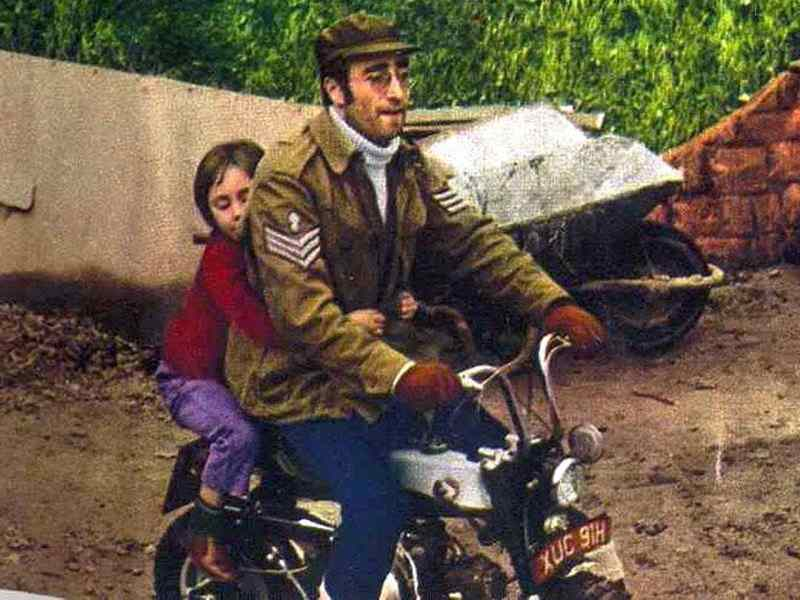 John and Julian Lennon on a Honda Monkey Bike, 1971