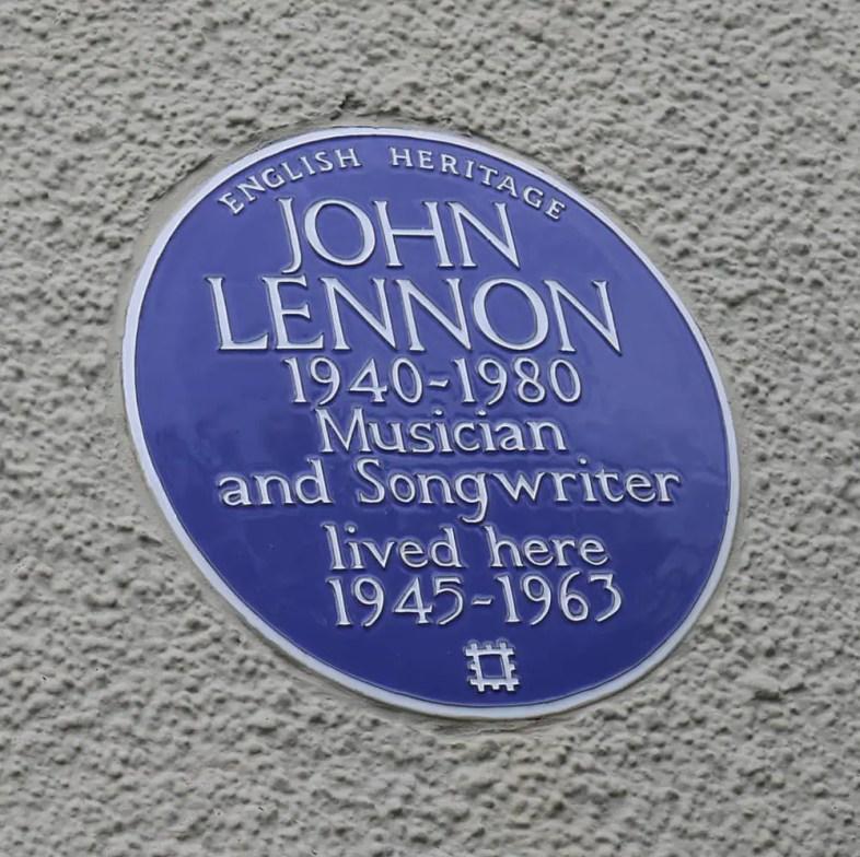 Plaque outside Mendips, 251 Menlove Avenue, Liverpool
