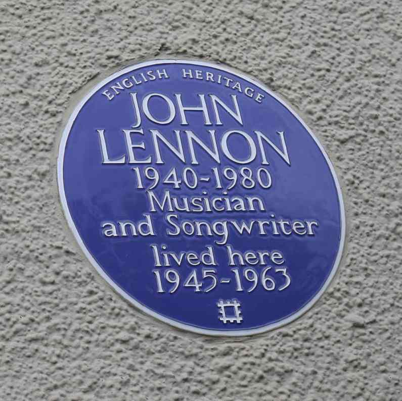 Plaque outside Mendips, 251 Menlove Avenue, Liverpool