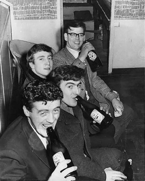 Dick Matthews, John Lennon, George Harrison and Sam Leach at the Palais Ballroom, Aldershot, 9 December 1961