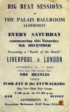 Poster for The Beatles at the Palais Ballroom, Aldershot, 9 December 1961