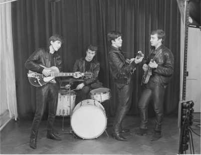 The Beatles at their first photo session, 17 December 1961