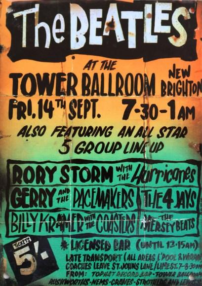 Poster for The Beatles at Tower Ballroom, New Brighton, 14 September 1962