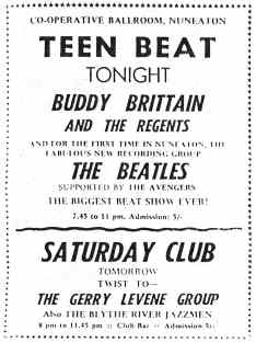 Poster for The Beatles at the Co-op Hall, Nuneaton, 5 October 1962