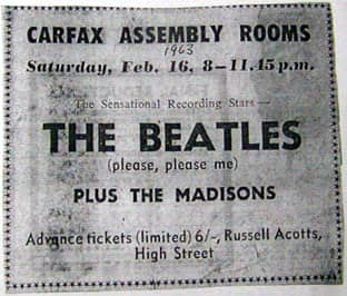 Ticket for The Beatles at Carfax Assembly Rooms, 16 February 1963